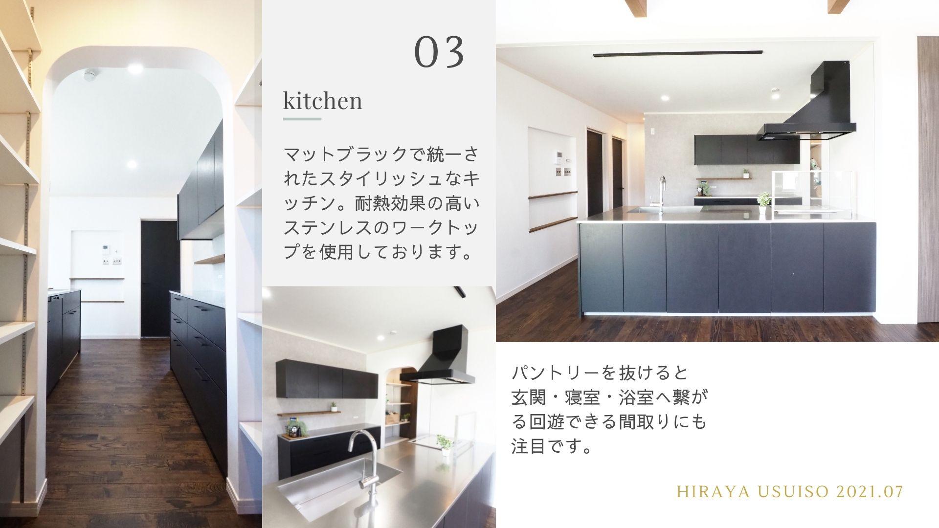 kitchen キッチン ペニンシュラ型 マットブラック ステンレスワークトップ